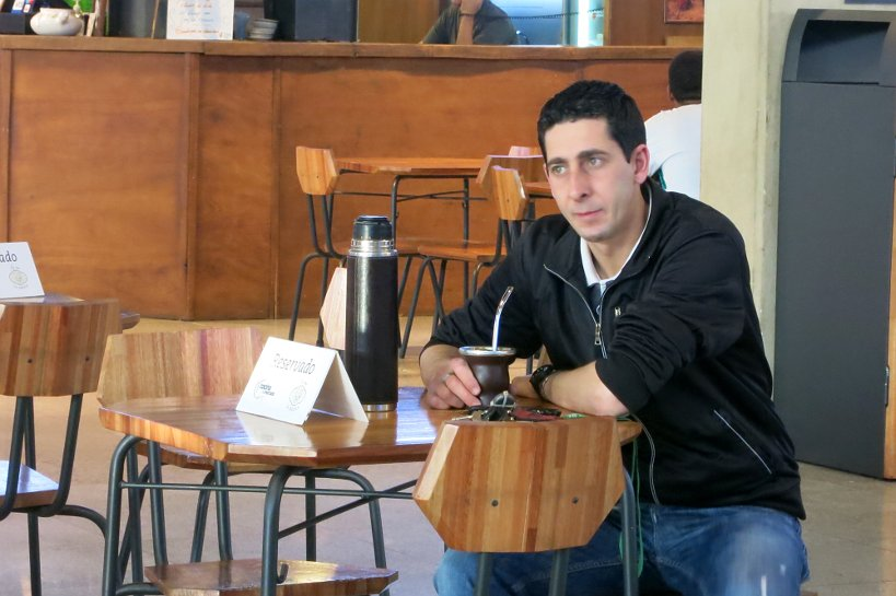 Man at mall drinking mate by Authentic Food Quest