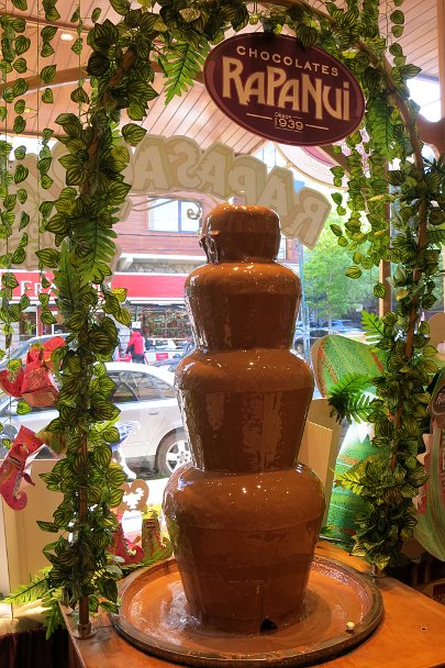 Rapa Nui Fountain by Authentic food Quest for Bariloche chocolate