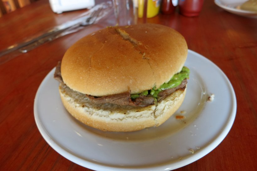 Chilean popular dish Churrasco sandwich with palta (avocado)