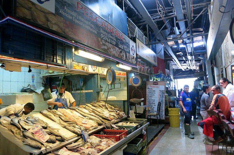 Fish stalls Mercado Central Santiago by Authentic Food Quest