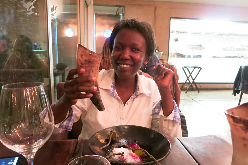 Rosemary drinking chicha at Borago restaurant by Authentic Food Quest