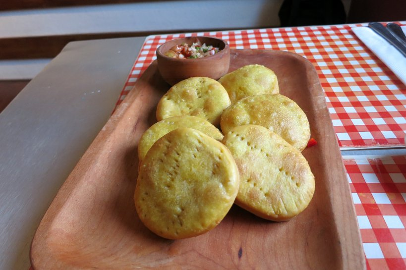 Chilean popular dishes Sopapillas with pebre