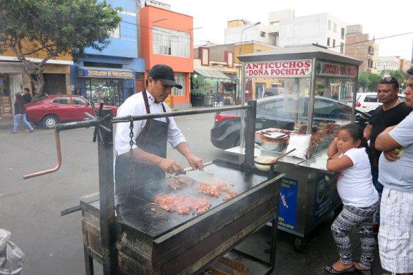 Peruvian Street Food Grilling Anticuchos