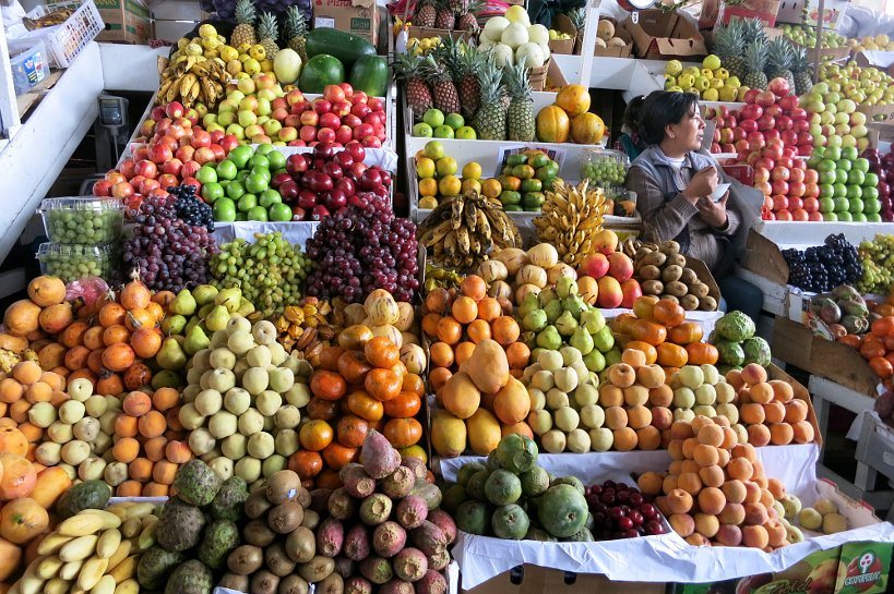 Cusco's market fruit stand