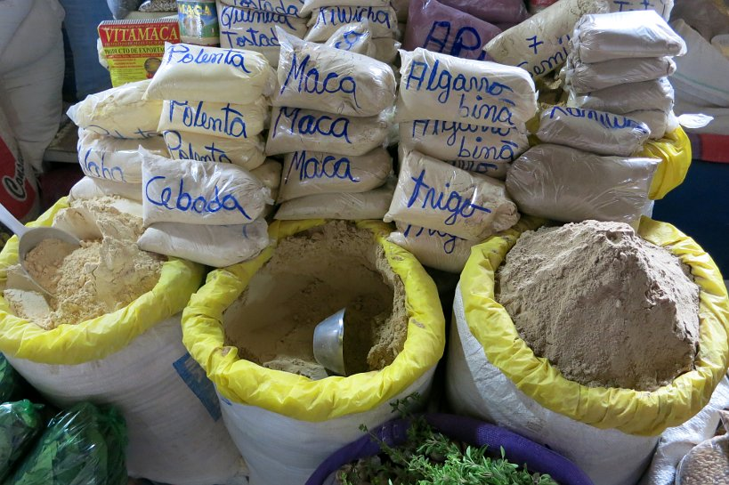 Maca stand at Cusco's market