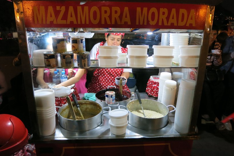 Peruvian street food Mazamorra