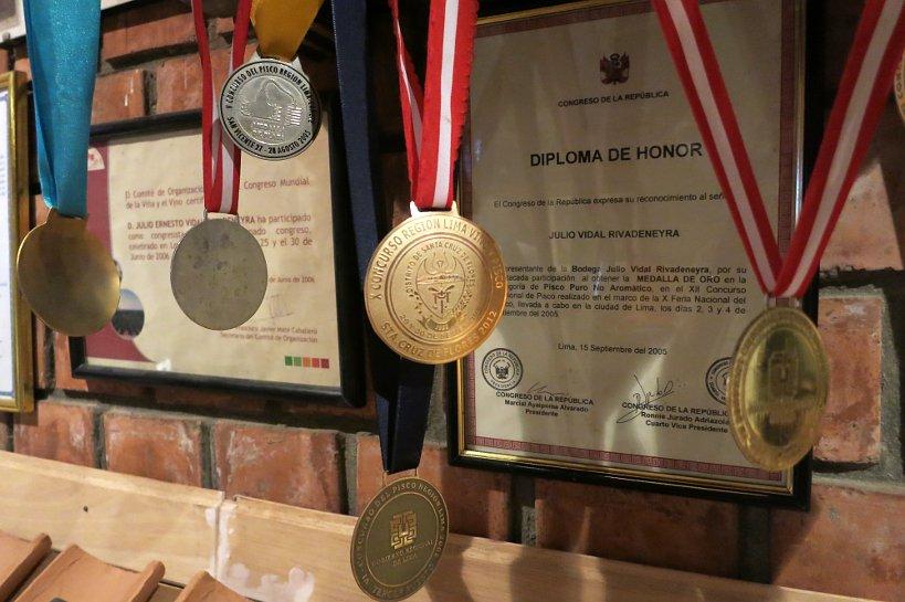 Peruvian Pisco medals at bodega rivadeneyra