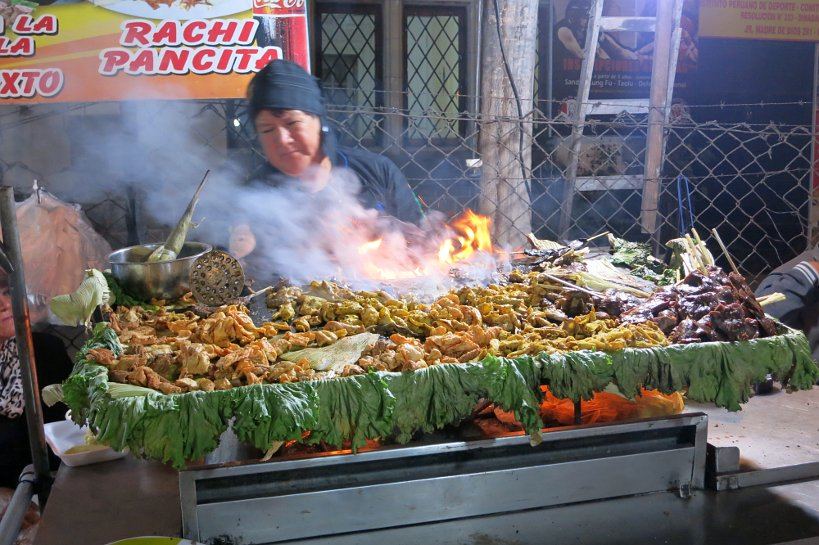 Vendor of rachi and other Peruvian Street Food in Lima by Authentic Food Quest