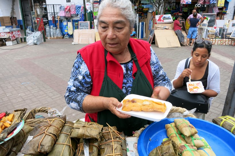 tamales street food vendor in Lima by Authentic Food Quest