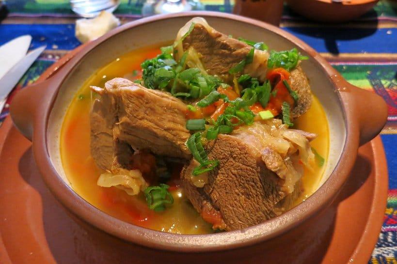 Authentic dishes cazuela de llama