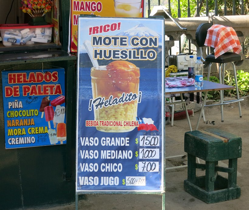 Mote con Huesillo Sign in Santiago by Authentic Food Quest