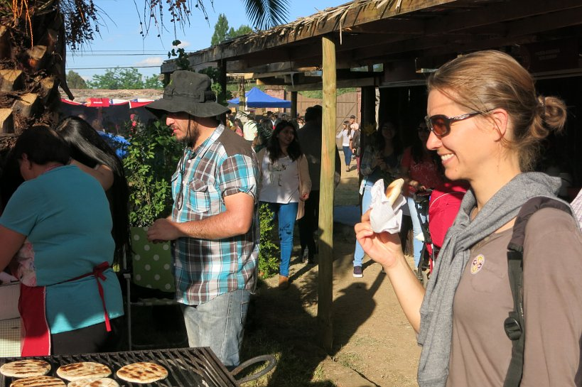 Local Festival Chile Talca Claire eating churrascas Authentic Food Quest