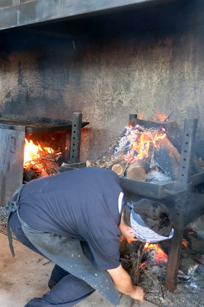 Getting the asado ready for Argentinian grilling