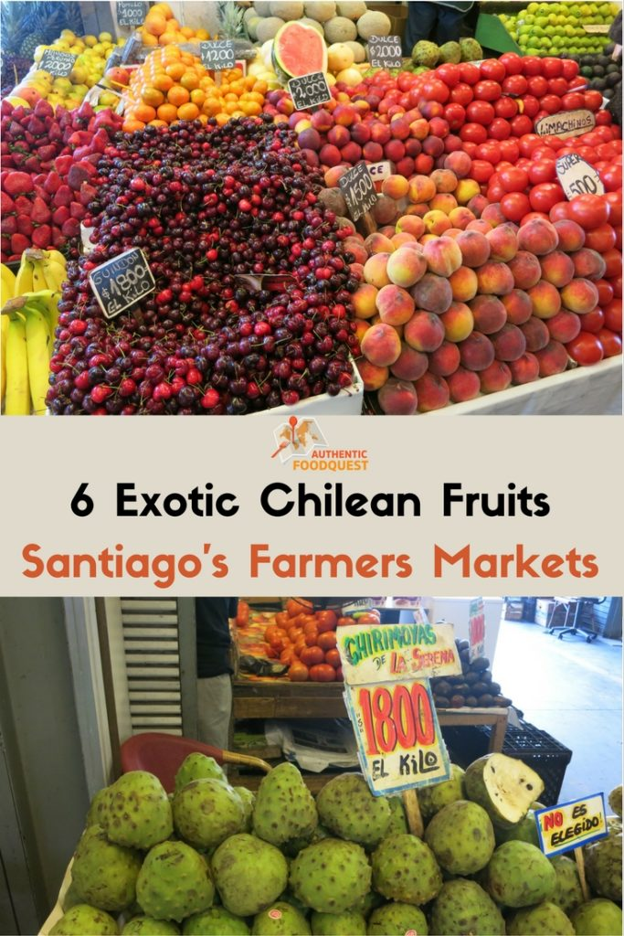 Pinterest image of 6 exotic chilean fruits at Santiago's Farmers Markets for Authentic Food Quest