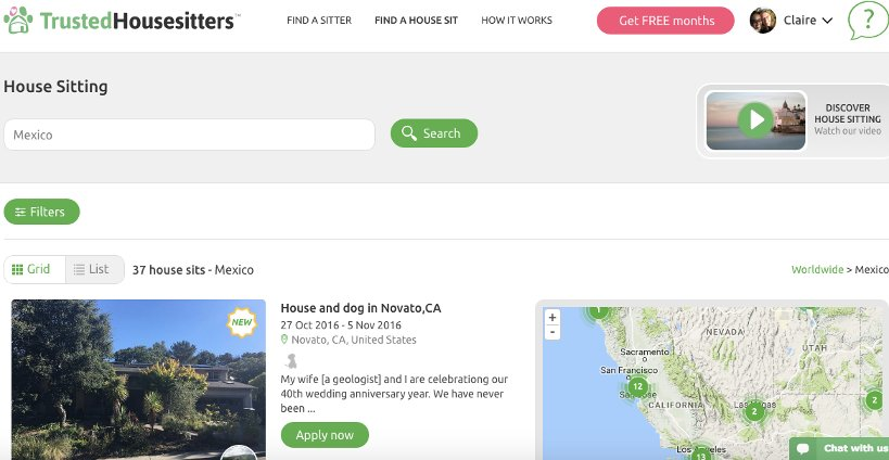 Picture of Screen Shot of Trusted House Sitters Platform by authentic food quest