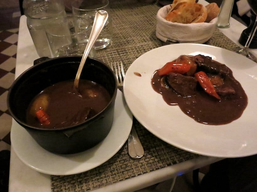 Le P'tit Troquet an affordable restaurant in Paris serving Boeuf Bourguignon