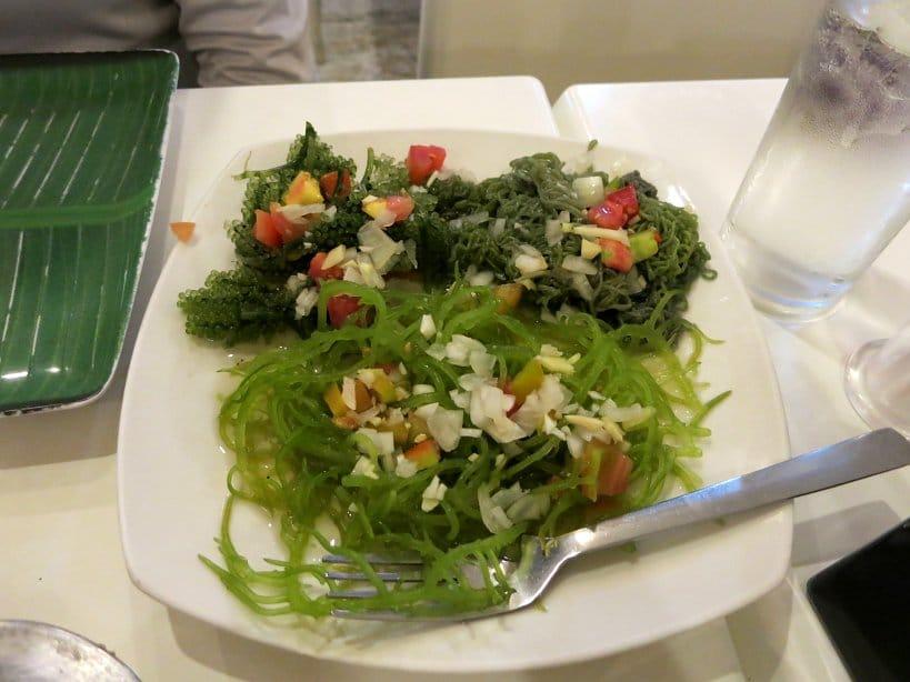 Trio of seaweed salads at Rico's lechon cebu lechon authentic food quest