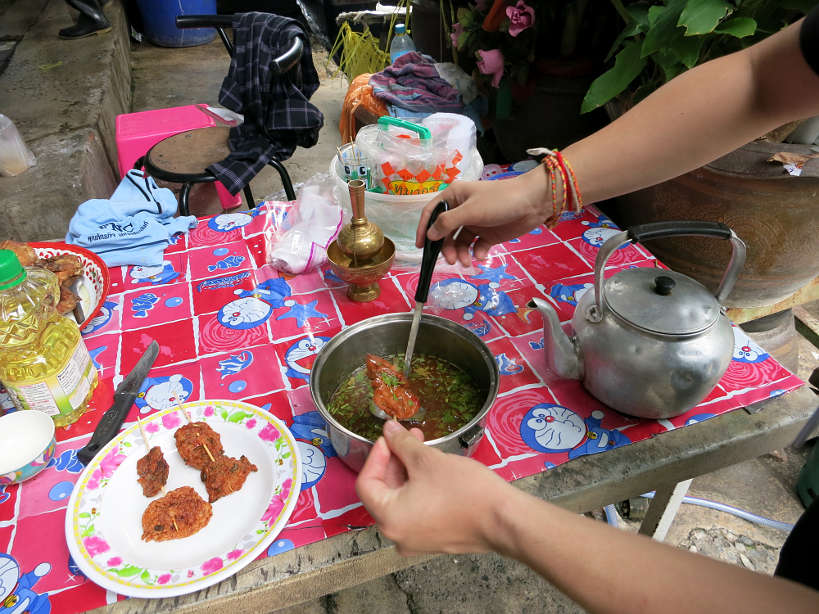 Bang Rak Market eating Crab cakes Bangkok Markets Authentic food quest