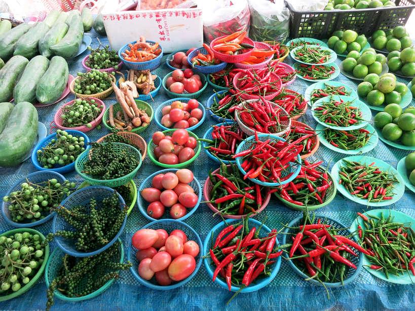 Sathorn Market Vegetable Stall Bangkok Markets Authentic food quest