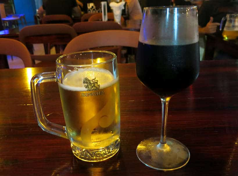 Singha Beer and red Wine Bangkok Authentic Food Quest
