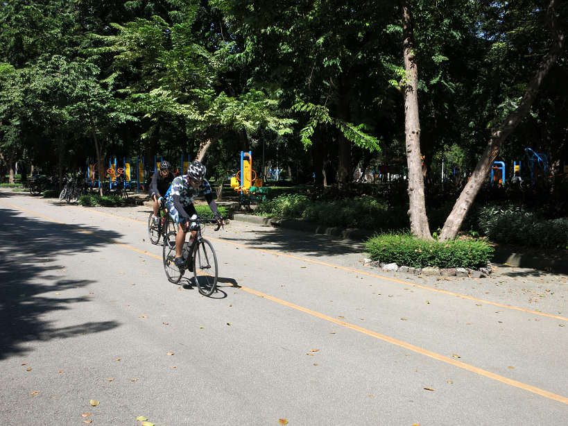 Biking Lumpini Park for running in Bangkok by Authentic Food Quest