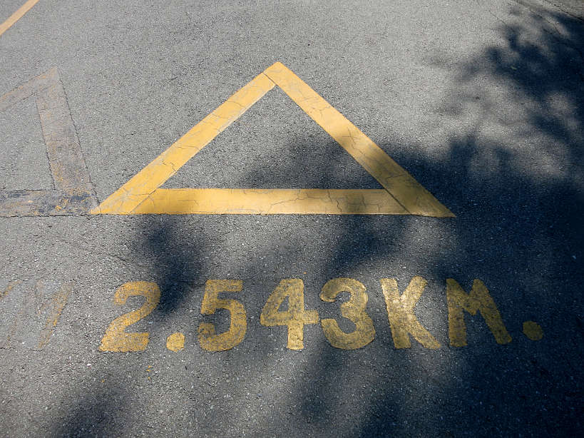 Kilometer markers at Lumpini Park while Running in Bangkok by authentic food quest