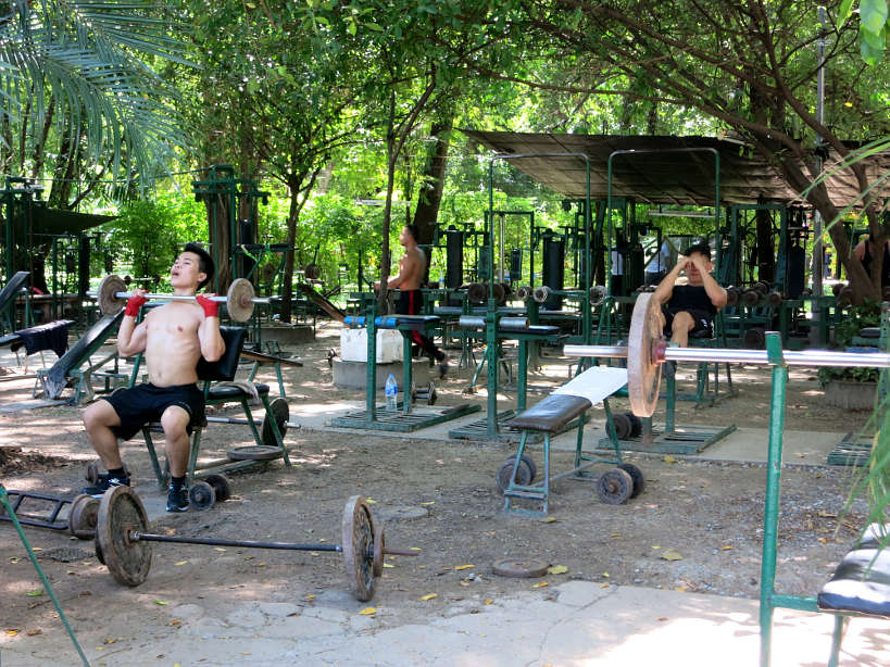 Muscle gym, Lumpini Park while running in Bangkok by Authentic Food Quest