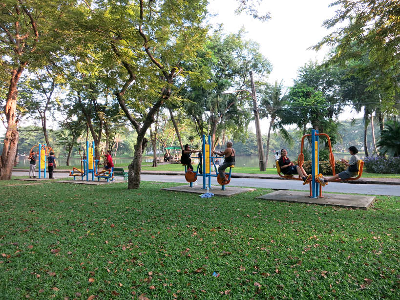 Open air gym in Lumpini Park for Running in Bangkok by Authentic Food Quest
