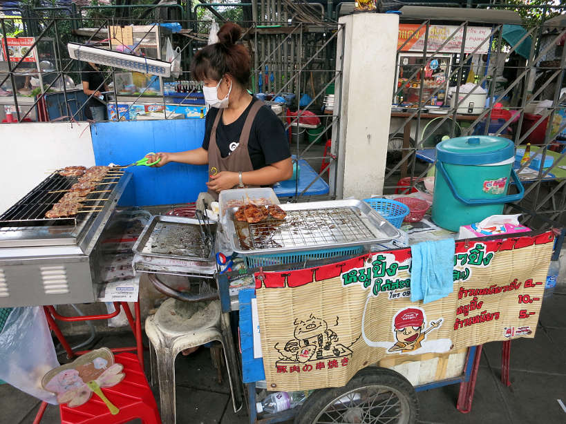 Pork Stick Food Cart Bangkok food tour Authentic Food Quest