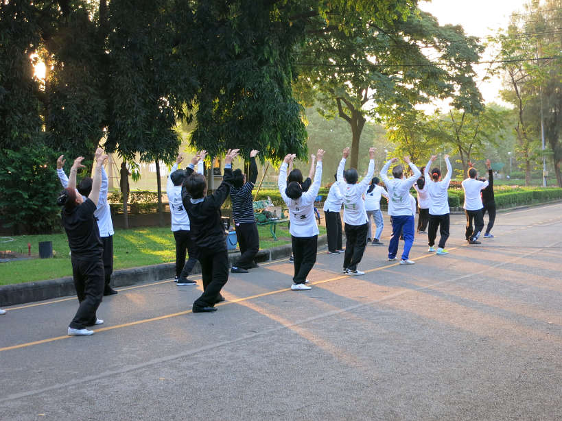Tai Chi in Lumpini Park for running in Bangkok by Authentic Food Quest