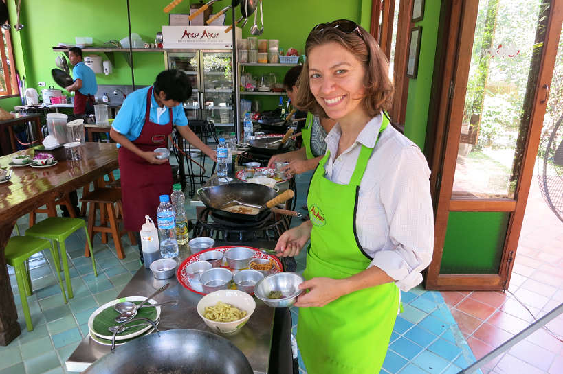 Claire Preparing Khao Soy during our Chiang Mai Cooking Class Authentic Food Quest