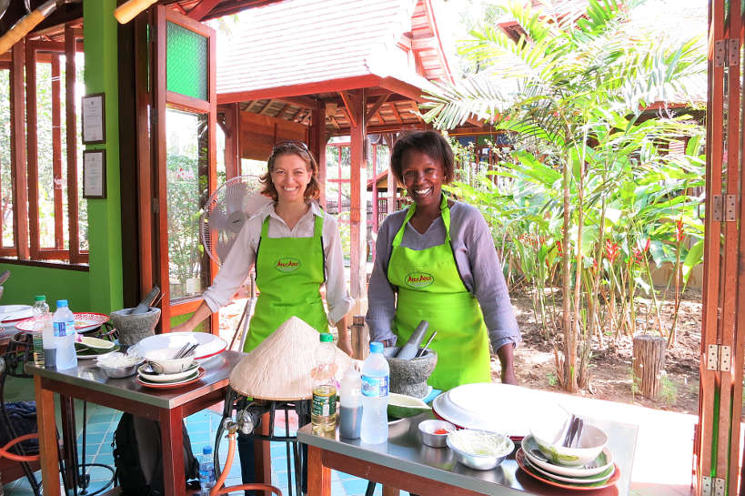 Claire & Rosemary at our Chiang Mai Cooking Class by Authentic Food Quest