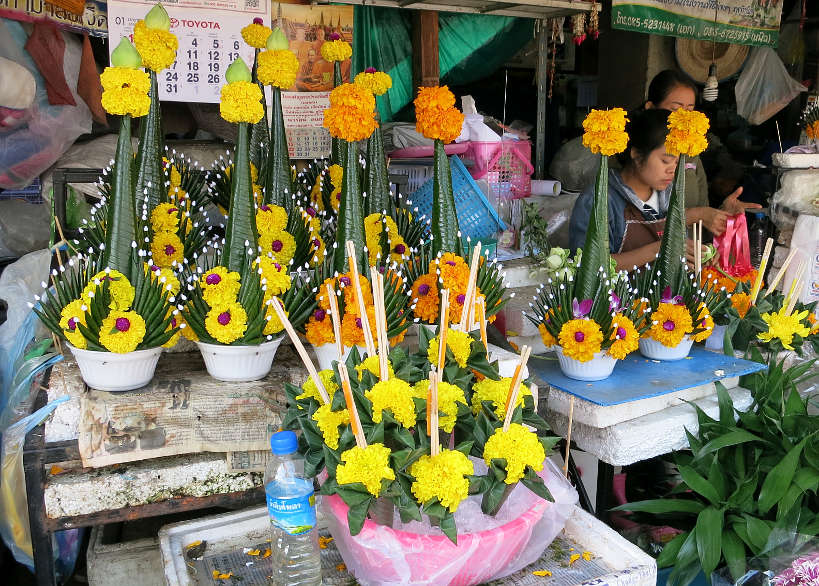 Florist Market visit during our Chiang Mai Cooking Class with Aroy Aroy cooking school Authentic FoodQuest