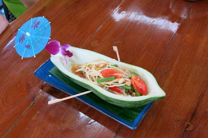 Green Papaya Salad made during our cooking class in Chiang Mai Authentic Food Quest