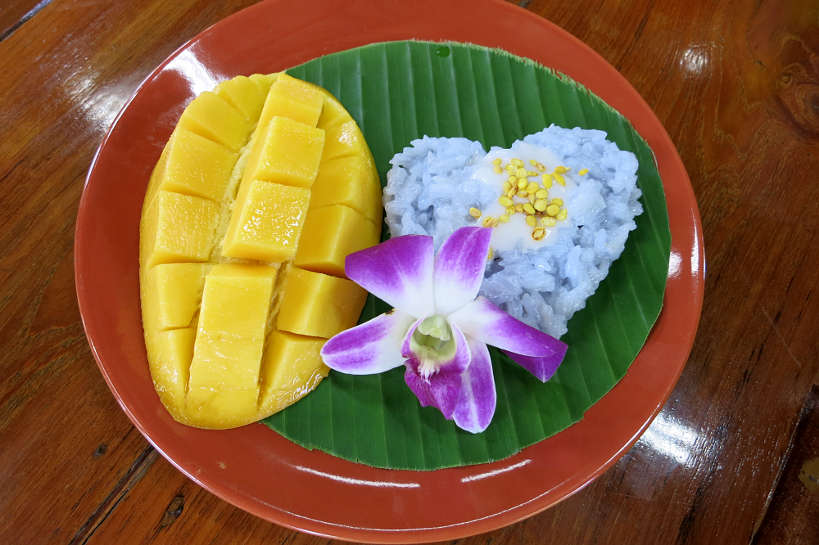 Mango Sticky Rice Popular Thai Desserts made during our Thai cooking class in Chiang Mai Authentic Food Quest
