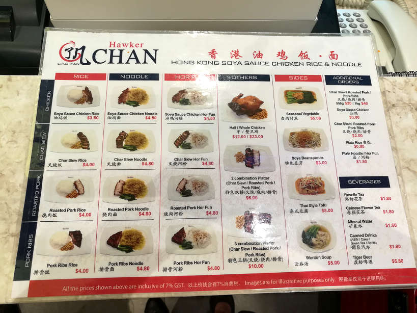 Hawker Chan Menu Singapore Michelin Star Authentic Food Quest