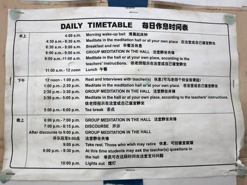 Timetable at the Silent Retreat by Authentic Food Quest