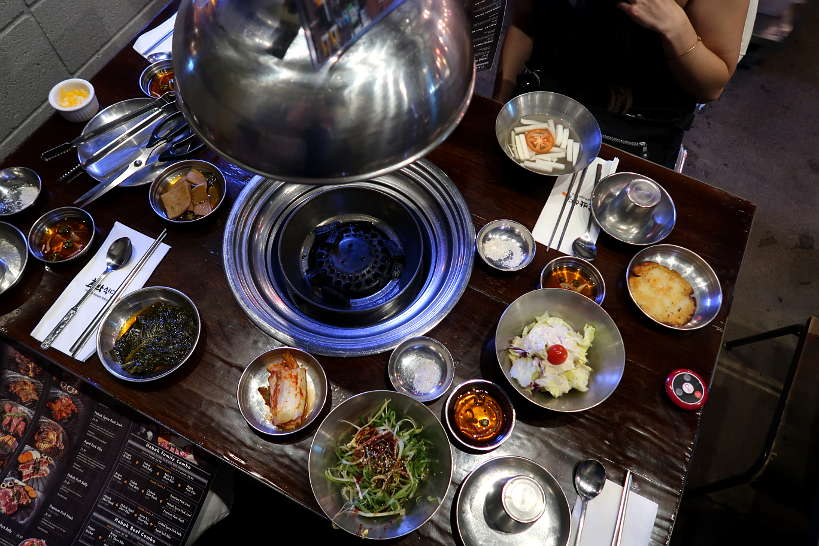 Banchan at Korean BBQ for Best Asian Restaurants in Las Vegas by Authentic Food Quest. Hobak Korean bbq is one of the best Asian restaurants in Las Vegas