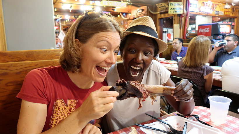 Claire and Rosemary at Blacks on the quest for the Best BBQ in Lockhart Authentic Food Quest