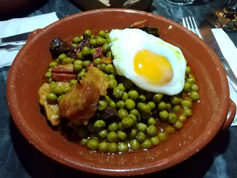 Portuguese Peas and Chorizo Stew at Mascote de Atalaia a lisbon restaurant where locals eat and listen to Fado Authentic Food Quest