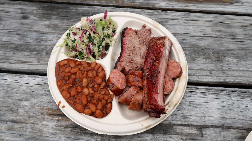 Three Meats Plate at Micklethwait Craft Meat the best food truck bbq for Austin BBQ Guide and the best barbecue in Austin by Authentic Food Quest