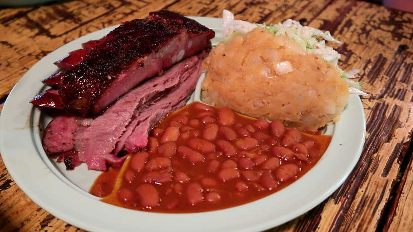 Thurman's Plate at Salt Lick Best BBQ in Austin Authentic Food Quest