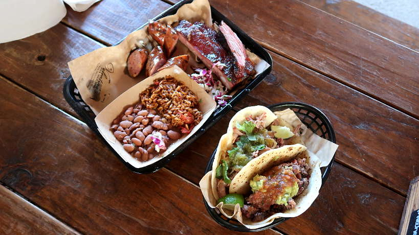 Valentinas BBQ Ribs Plate and Tacos for Best Tex-Mex BBQ in Austin by Authentic Food Quest