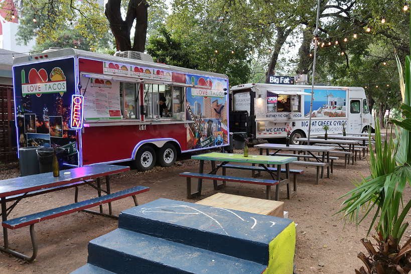 Rainey Street food truck area with Big Fat Greek Gyros one of the Austin Food Truck Parks Authentic Food Quest