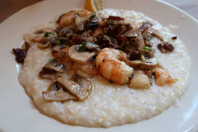 Shrimps and Grits at Hominy's Grill the Best Breakfast Restaurant for Southern Foods in Charleston South Carolina by Authentic Food Quest. Find the some of the best food in South Carolina at Hominy Grill, Charleston.