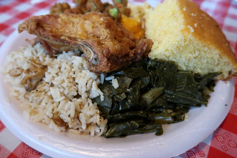 Chicken Bog Collard Greens at Big Mike's Soul Food for Best Southern Comfort Foods by Authentic Food Quest.