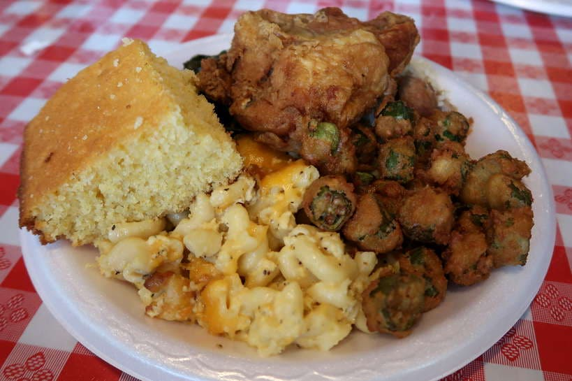 CornBread Fried Okra and Mac & Cheese at Big Mike's Soul Food for Best Southern Comfort Foods by Authentic Food Quest. Some of the delicious delights at Big Mike's Soul Food