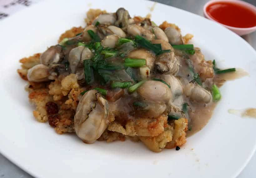 Oyster Omelet Best street food seafood in Chinatown Bangkok Authentic Food Quest