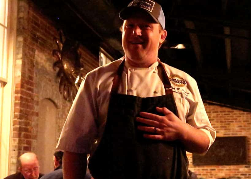 Chef Wes Fulmer at Motor Supply Bistro and Co for Southern Cuisine by Authentic Food Quest. Chef Fulmer and Nathalie Dupree are some of the chefs we spoke to about Southern Cuisine