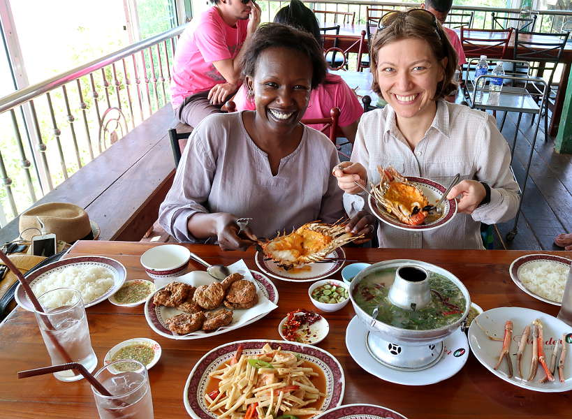 Kung Phao Mae Thong Chup Rosemary and Claire with Giant Shrimp on Ayutthaya Day Tour by Authentic Food Quest. So many temples and so much good food to experience on a Ayutthaya day tour